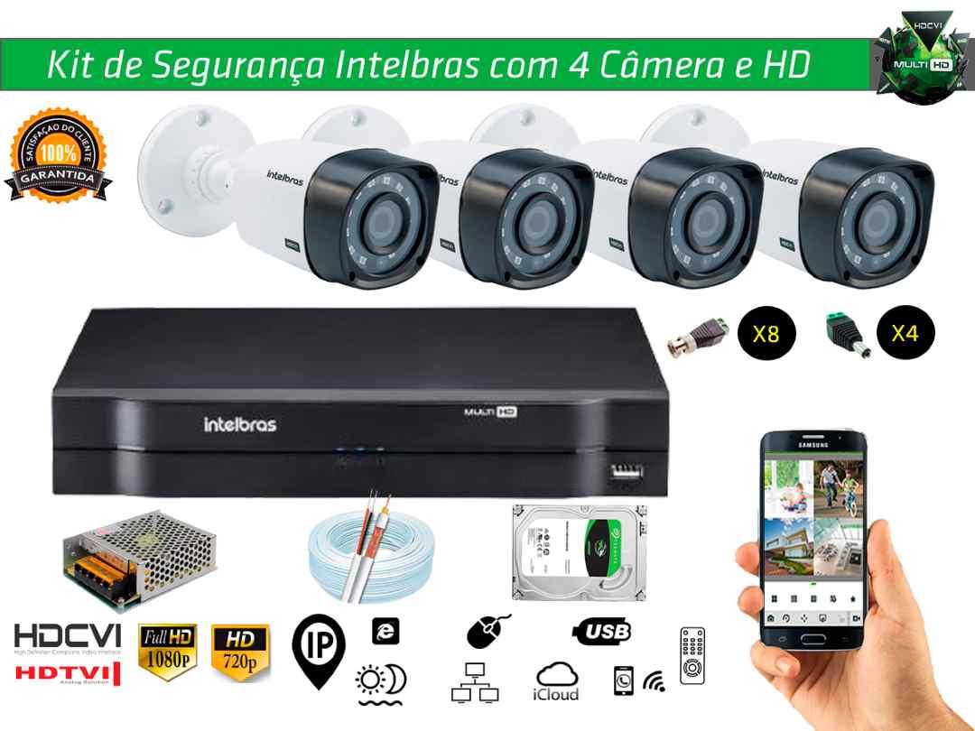 Kit Cftv Intelbras com 4 Câmera Bullet e Dvr 4ch 5x1 + Hd1tb e 100m Cabo Coaxial e Fonte 5A