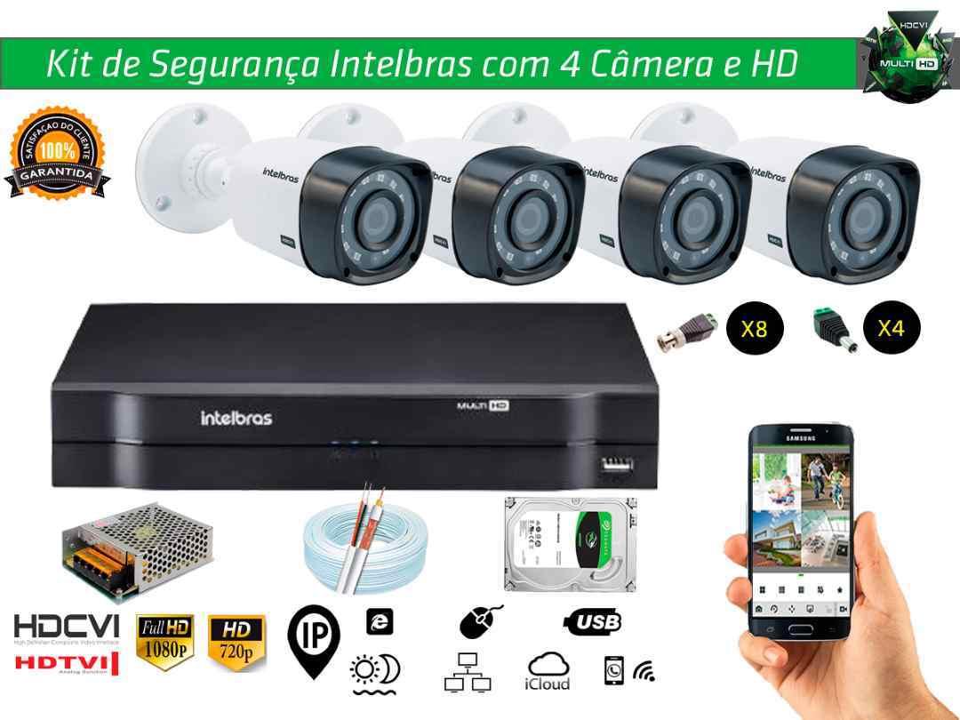Kit Cftv Intelbras com 4 Câmera Bullet e Dvr 4ch 5x1 + Hd500tb e 100m Cabo Coaxial e Fonte 5A