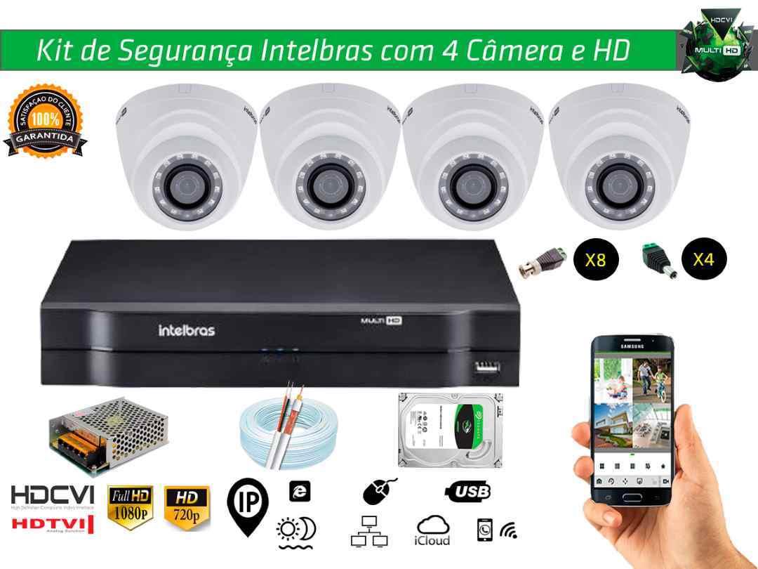 Kit Cftv Intelbras com 4 Câmera Dome e Dvr 4ch 5x1 + Hd1tb e 100m Cabo Coaxial e Fonte 5A