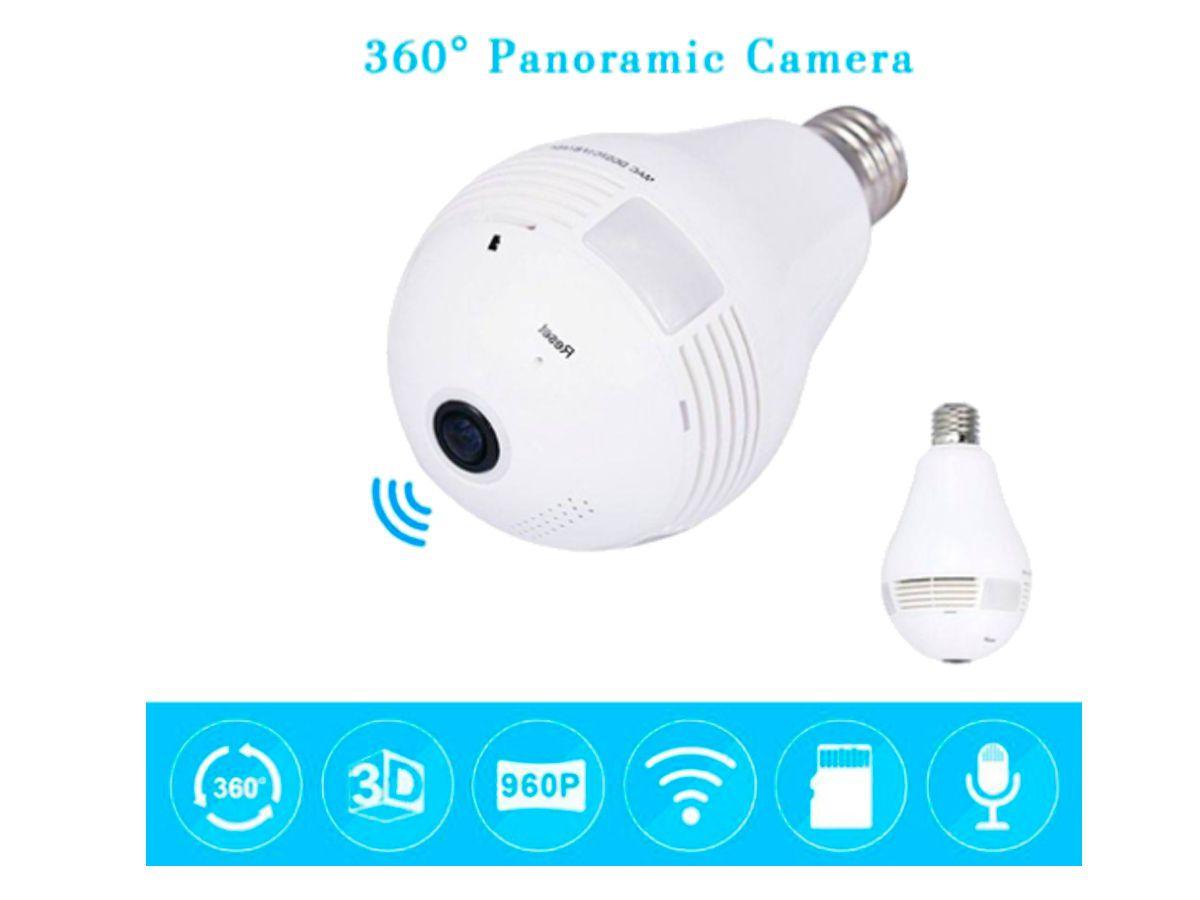 Lampada Câmera Espiã Panoramica 360º Wifi