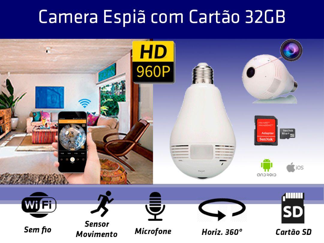Lampada Câmera Espiã Panorâmica 360º Wifi + Cartão SD 32GB