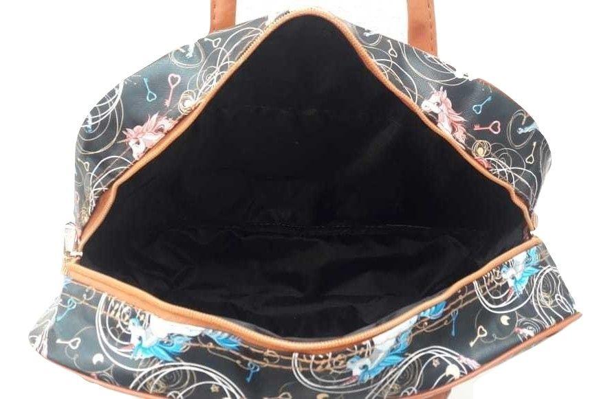 2a937fb7a Bolsa Feminina Sacola Estampa Unicórnio Azul - Sobrinhos Moda