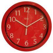 Relógio 6718 de Parede Alumínio 25 cm Vermelho Vidro Herweg