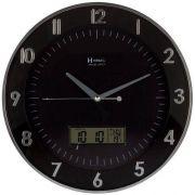 Relógio 6804 Parede 35cm Termômetro Calendário Preto Herweg