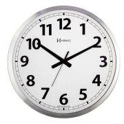 Relógio De Parede Grande Analógico Mecanismo Step Fundo Branco Alumínio Escovado Herweg