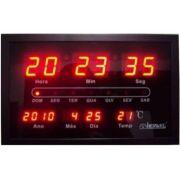 Relógio Parede Herweg 6289 Digital Led Termometro Calendario