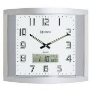 Relógio Parede Prata Quadrado Grande Com Calendário E Termômetro Herweg - 6421