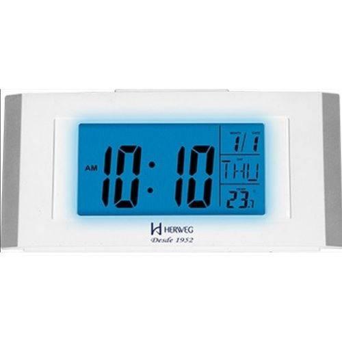 Despertador Digital Herweg Luz Noturna Led Com Calendario Termometro Alarme E Snooze