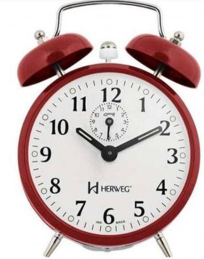 Despertador Herweg 2208 044 Vermelho Antigo Retrô Relógio