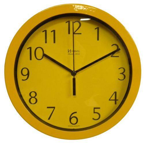 Relógio 6719 De Parede Alumínio 30 Cm Amarelo Vidro Herweg