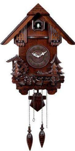 Relógio Cuco Retro Clássico Em Madeira Com Pêndulo A Pilha Herweg Ipê