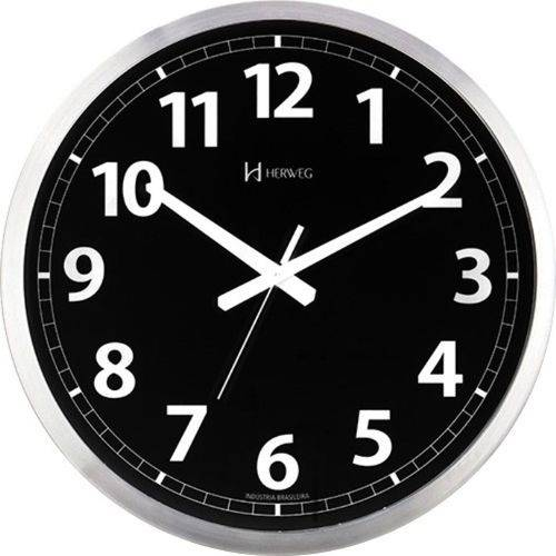 Relógio D Parede 40cm Preto Silencioso Alumínio Herweg 6720s