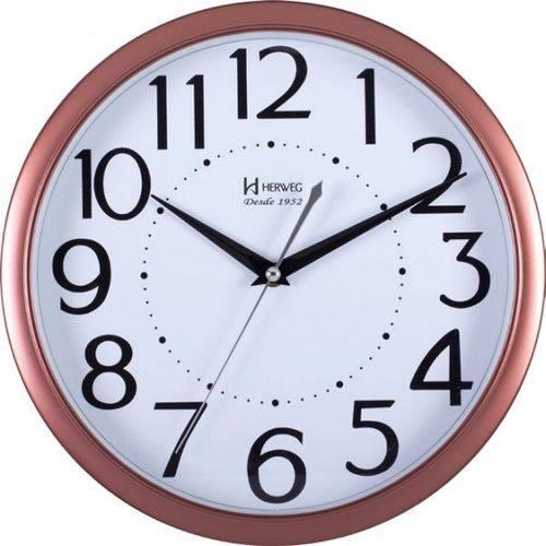 Relógio De Parede Analógico Decorativo Moderno Borda Rosê Gold Herweg Rosê