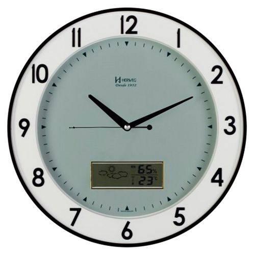 Relogio De Parede Com Estacao Metereologica Herweg Luxo Com Termometro E Higrometro Com Display Digi