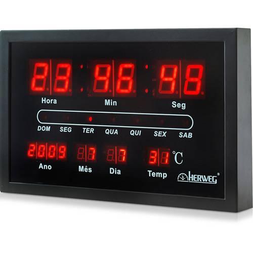 Relógio de Parede Digital 6289-34 30x19x4 cm Preto - Herweg