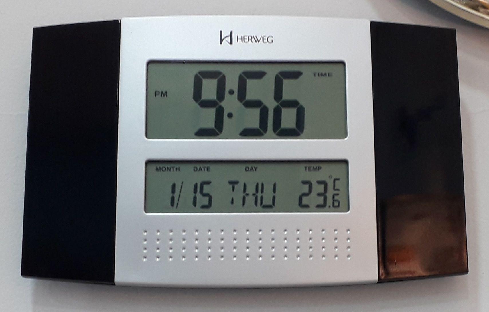 Relogio de Parede e Mesa Digital com Temperatura Herweg 6438