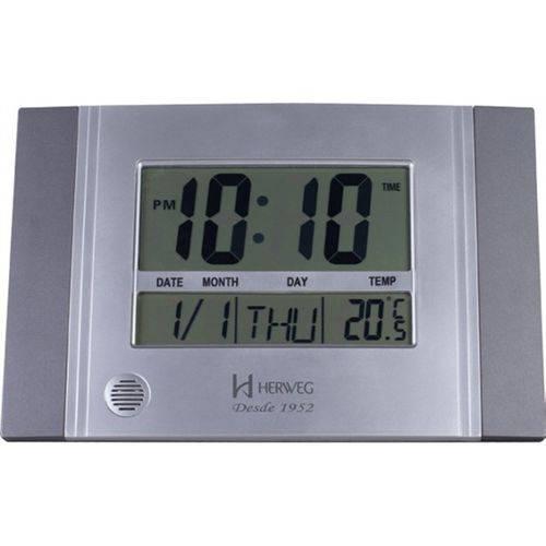 Relógio De Parede E Mesa Digital Moderno Termômetro Com Duas Escalas Timer Alarme Melodia Herweg Cin