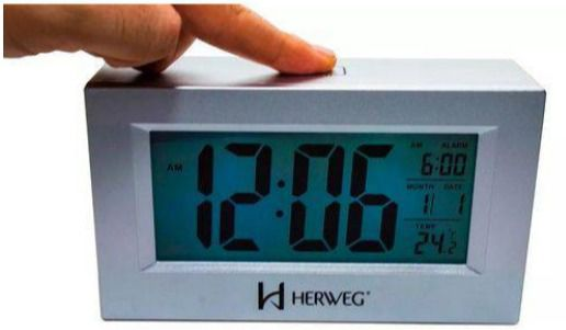 Relogio Despertador Digital Luz Temperatura Herweg 2972 070 Prata