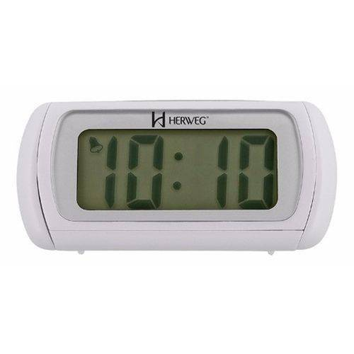 Relógio Despertador Digital Moderno Alarme Lâmpada Led Iluminação Noturna Herweg Branco