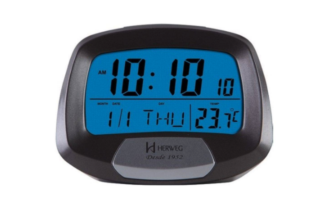 Relógio Despertador Digital Termômetro Herweg 2977 071 Cinza