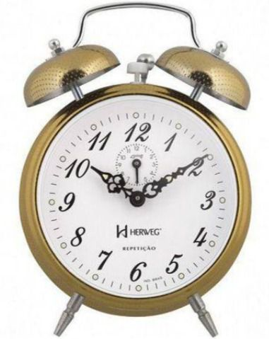 Relogio Despertador Herweg 2380 208 Dourado Picoteado