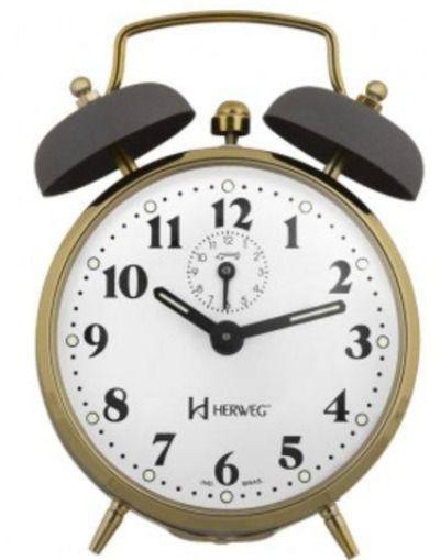 Relogio Despertador Mecanico Vintage Retro Dourado E Cinza Herweg