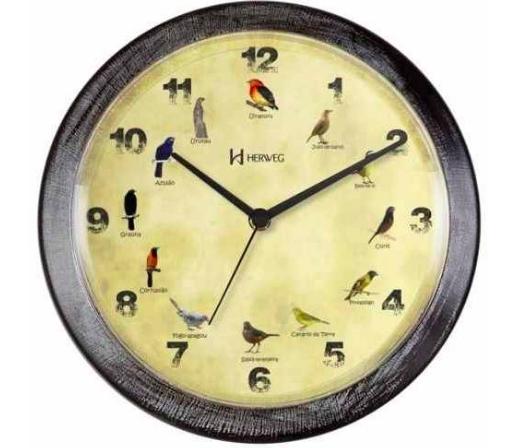 Relógio Parede Herweg 6658 Canto Passaros Brasileiros