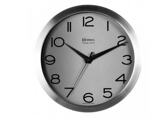 Relógio Parede Herweg 6714 079 Aluminio Escovado 25cm