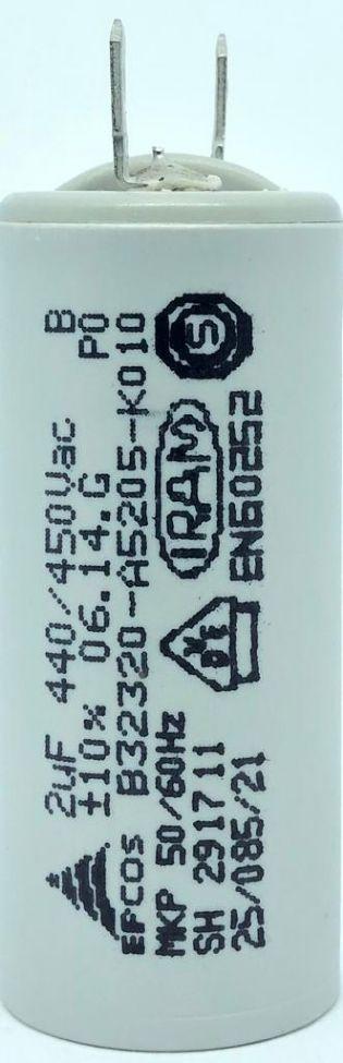 CAPACITOR PPM 2UF 440VCA/450VCA B32320-A5205-K010 25X57M FASTON EPCOS (B32320A5205K010)