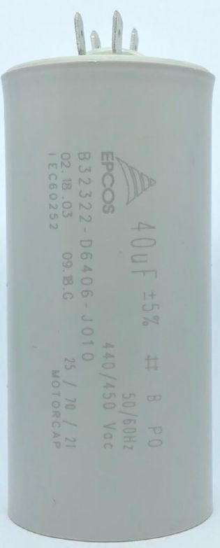 CAPACITOR PPM 40UF 440VCA/450VCA B32322-D6406-J010 45X 96MM FASTON EPCOS (B32322D6406J010)