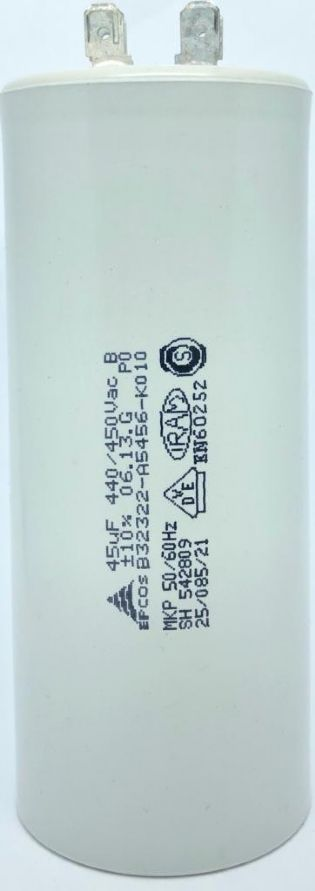 CAPACITOR 45UF 440VAC / 450VAC B32322-A5456-K010 50x121mm TERMINAL FASTON EPCOS