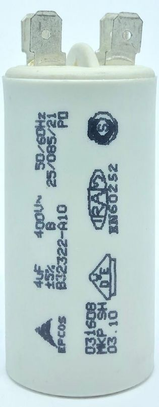 CAPACITOR 4UF 400VAC B32322-A10 31x61mm TERMINAL FASTON EPCOS
