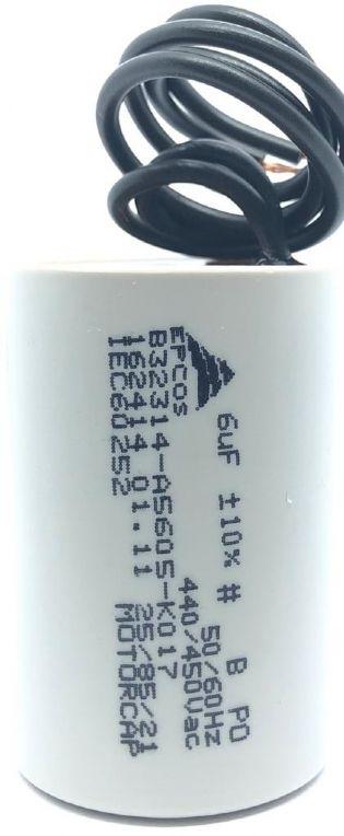 CAPACITOR 6UF 440VAC / 450VAC B32314-A5605-K017 34X50MM TERMINAL FIO EPCOS