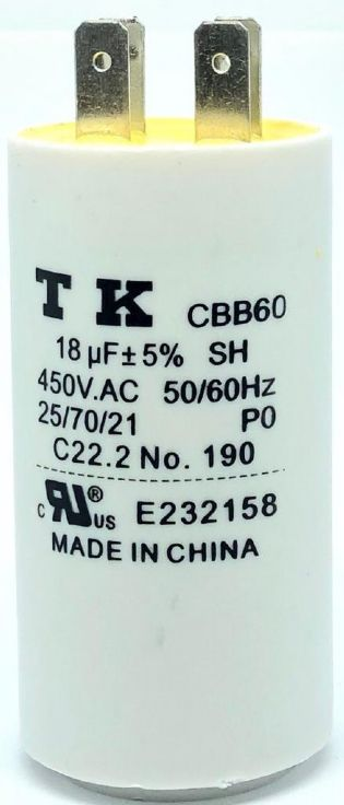CAPACITOR PPM 18UF 450VCA 37X71MM CBB60 FASTON TK