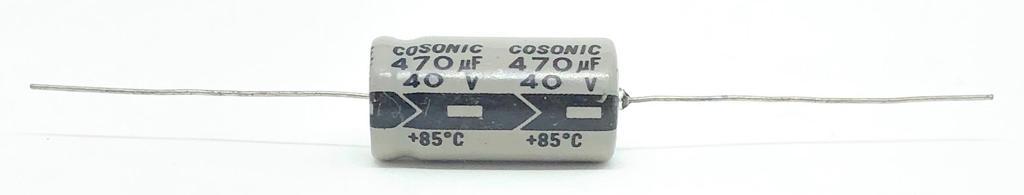CAPACITOR ELETROLITICO 470UF 40V AXIAL 13X26MM COSONIC