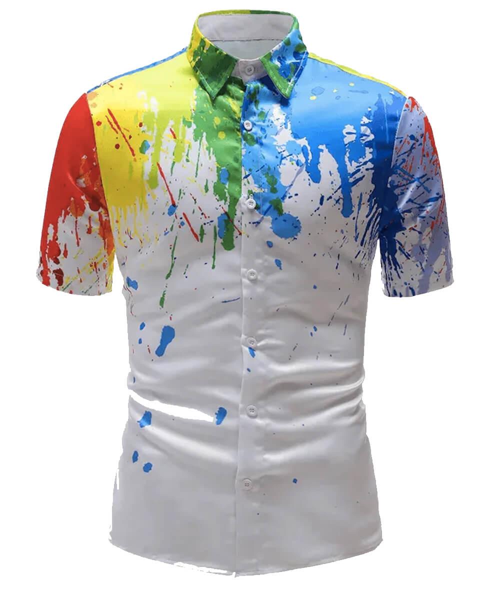 Camisa social estampada - Tinta espirrada
