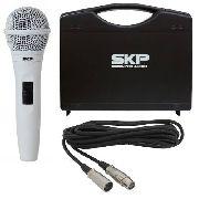 Microfone Branco Profissional Skp Pro92 Xlr Com Cabo + Case