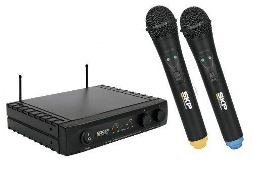 Microfone De Mão Duplo Profissional Sem Fio Skp Uhf 261