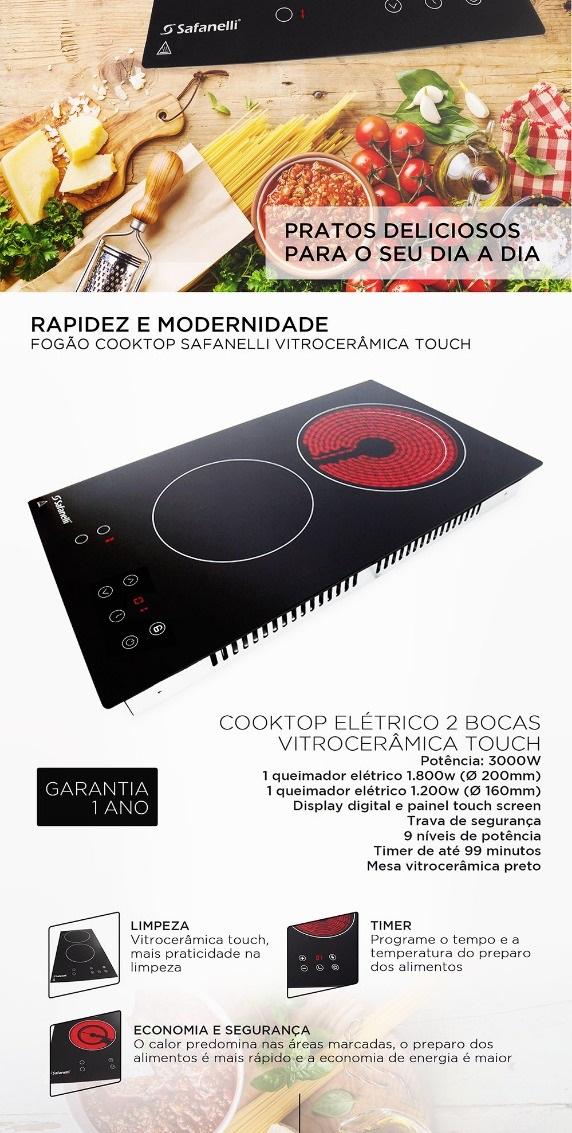 Fogão Cooktop Elétrico 2 Bocas Safanelli Touch Vitrocerâmica