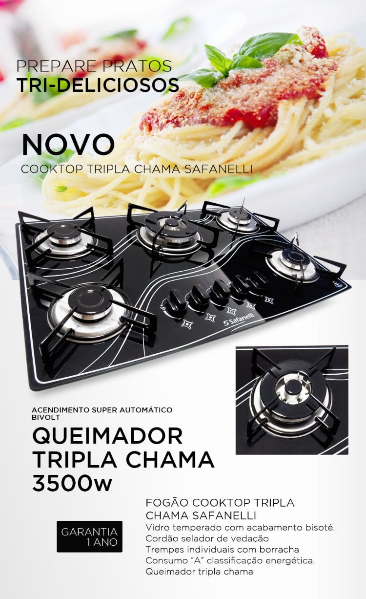 Fogão Cooktop Tripla Chama 5q Lines Safanelli Tri500
