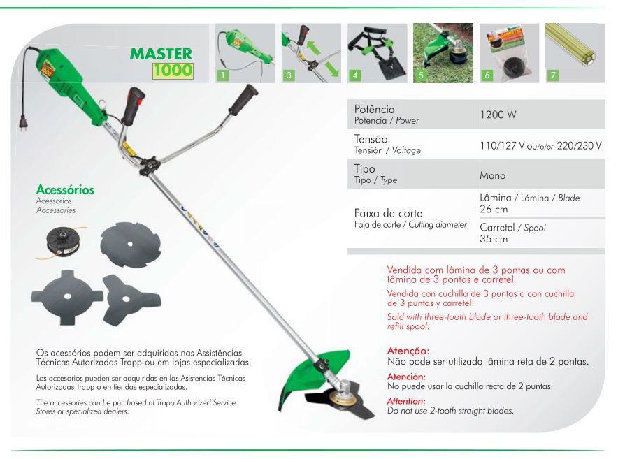 Roçadeira Elétrica Com Lâmina E Carretel Trapp Master 100