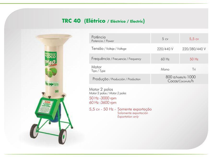 Triturador De Cocos Elétrico Monofásico 5CV Trapp TRC 40