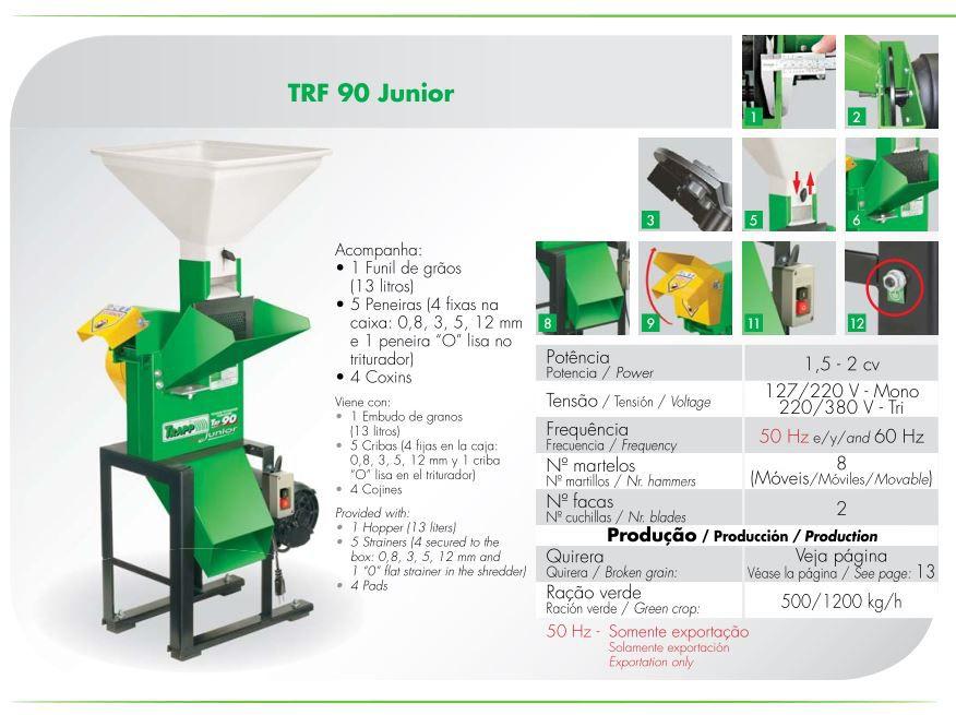Triturador Forrageiro 2cv Trifásico Trapp TRF 90 Júnior