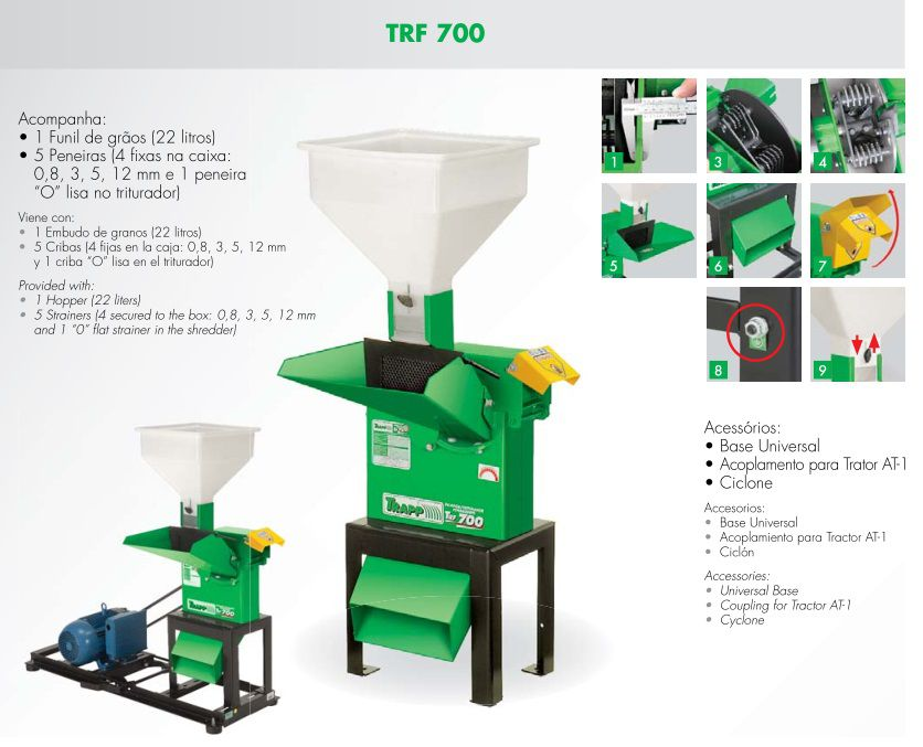 Triturador Forrageiro Trifásico 7,5CV C/Base Trapp TRF 700