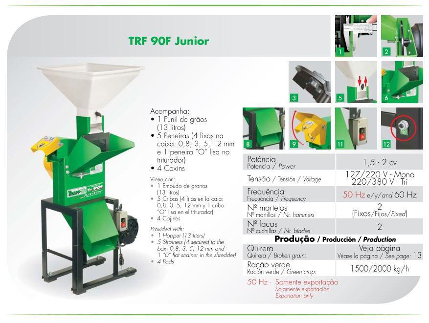 Triturador Forrageiro Monofásico 2cv Trapp TRF 90F