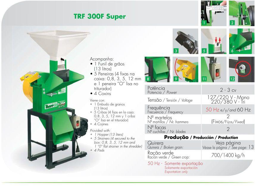 Triturador Forrageiro Trifásico 2CV Trapp TRF 300F Super
