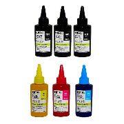 3 Unidades de  100ml Black + 3 unidades  100ml Colorida Tinta Art Paper Pigmentada - Couchê