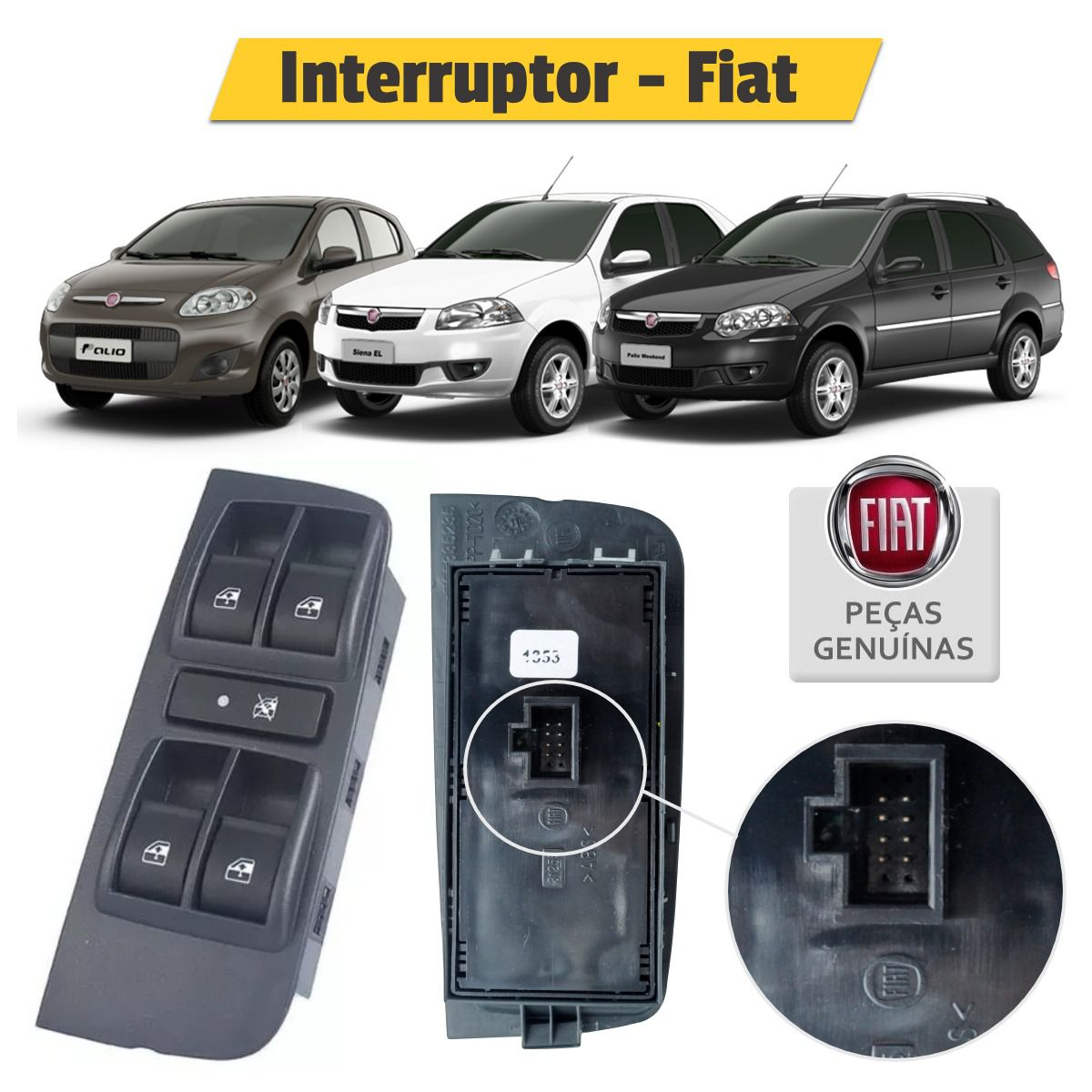 Interruptor Vidro Elétrico Quadruplo Motorista Fiat Pálio - Original