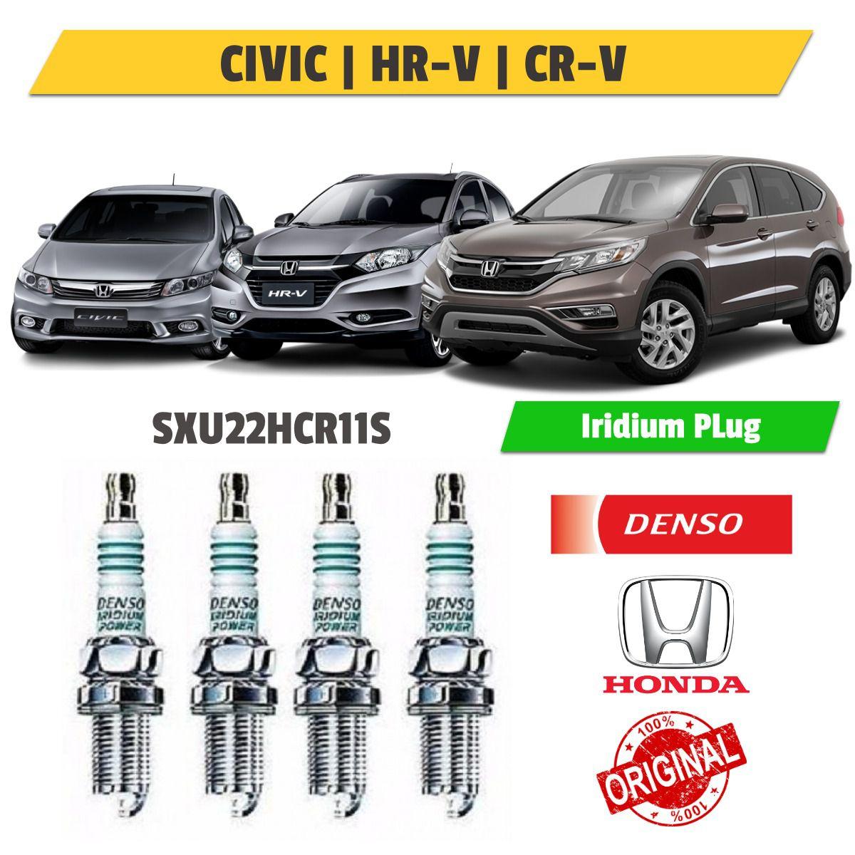 Kit 4 Velas Iridium Honda Civic, hr-v e Cr-v sxu22hcr11s - Denso