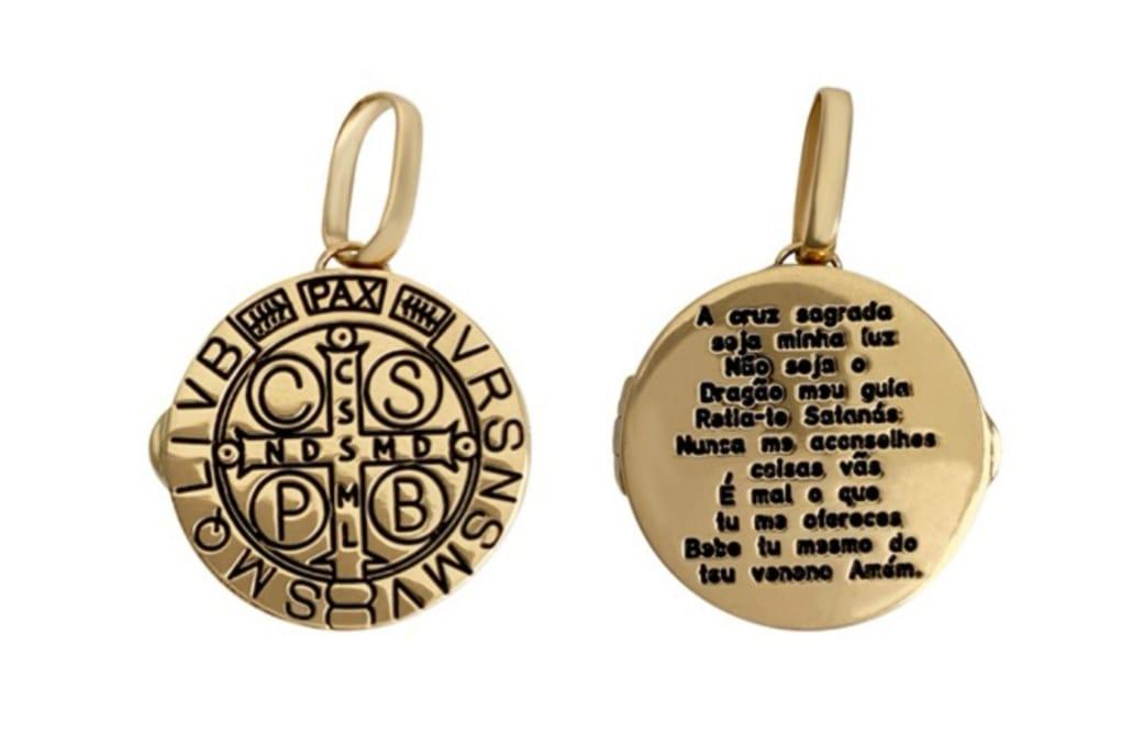 Relicário Ouro 18k São Bento com Foto em Resina Grátis